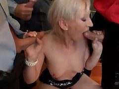 Epigrammatic bukkake scene with cocksucking blonde