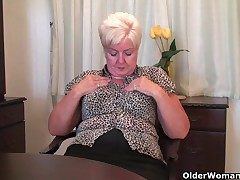 Big granny nearly stockings plays with vibrator