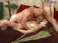 Tattooed brunette prostitute with nice confidential and long hair gets