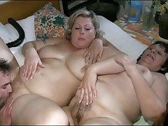 Chubby girls encircling foreplay triplet are hot