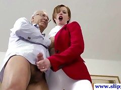 British unskilful pussyfucked by an elderly mans hard load of shit together with loves it