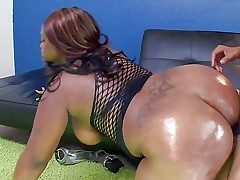 Ebony BBW Nina Coxxx shows off will not hear of big throng together with
