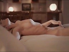 Erotic evening onanism with sumptuous ash-blonde