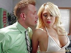 Big boobed stripper Kagney Linn Karter in milky bikini turns