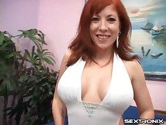 Mummy redhead with an epic set of tits sucks cock