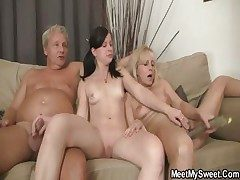 Girlfriend have fun with her BF's mother and dad