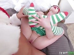 Christmas hardcore with a adorable teen elf that likes dick