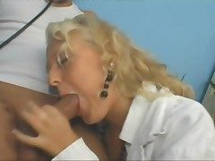 Blonde doctor has great sexual relations coupled with loves a facial