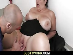 Plus-size in pantyhoses rails his monstrous wood