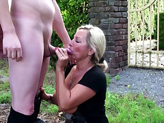 German Step Mother catch Son wank in Garden and Help with Fuck