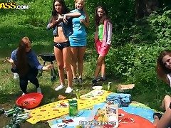 Albina, Ariana, Destiny, Lindsey, Madelyn and Natalie making wild summer picnic