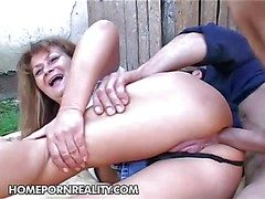 Aged slut Samantha gets her heavy ass fucked deep together with