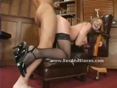 Redhead with grown boobs choking in brutal deepthroat and getting her round obese tokus spanked